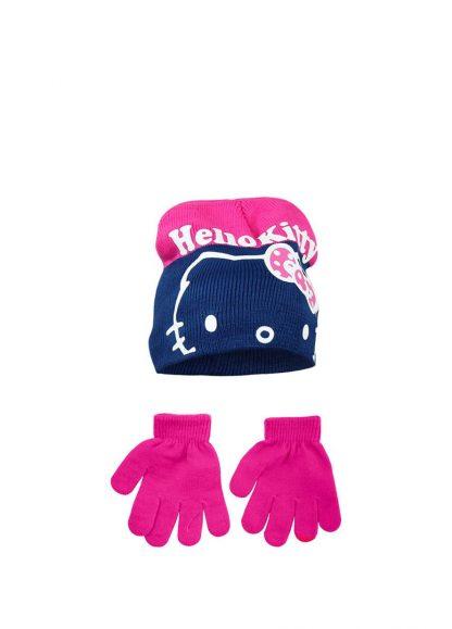 Hello Kitty - Guanti con cappello fucsia bambina