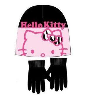 Hello Kitty - Guanti con cappello rosa nero bambina