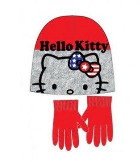 Hello Kitty - Guanti con cappello rosso e grigio bambina