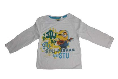 Minions T-shirt bianca maniche lunghe Stu-Perman