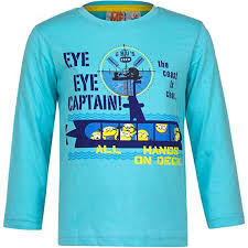 Minions t-shirt maniche lunghe azzurra ragazzo