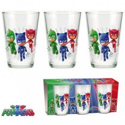 Pj Mask Set 3 bicchieri in vetro per bambini